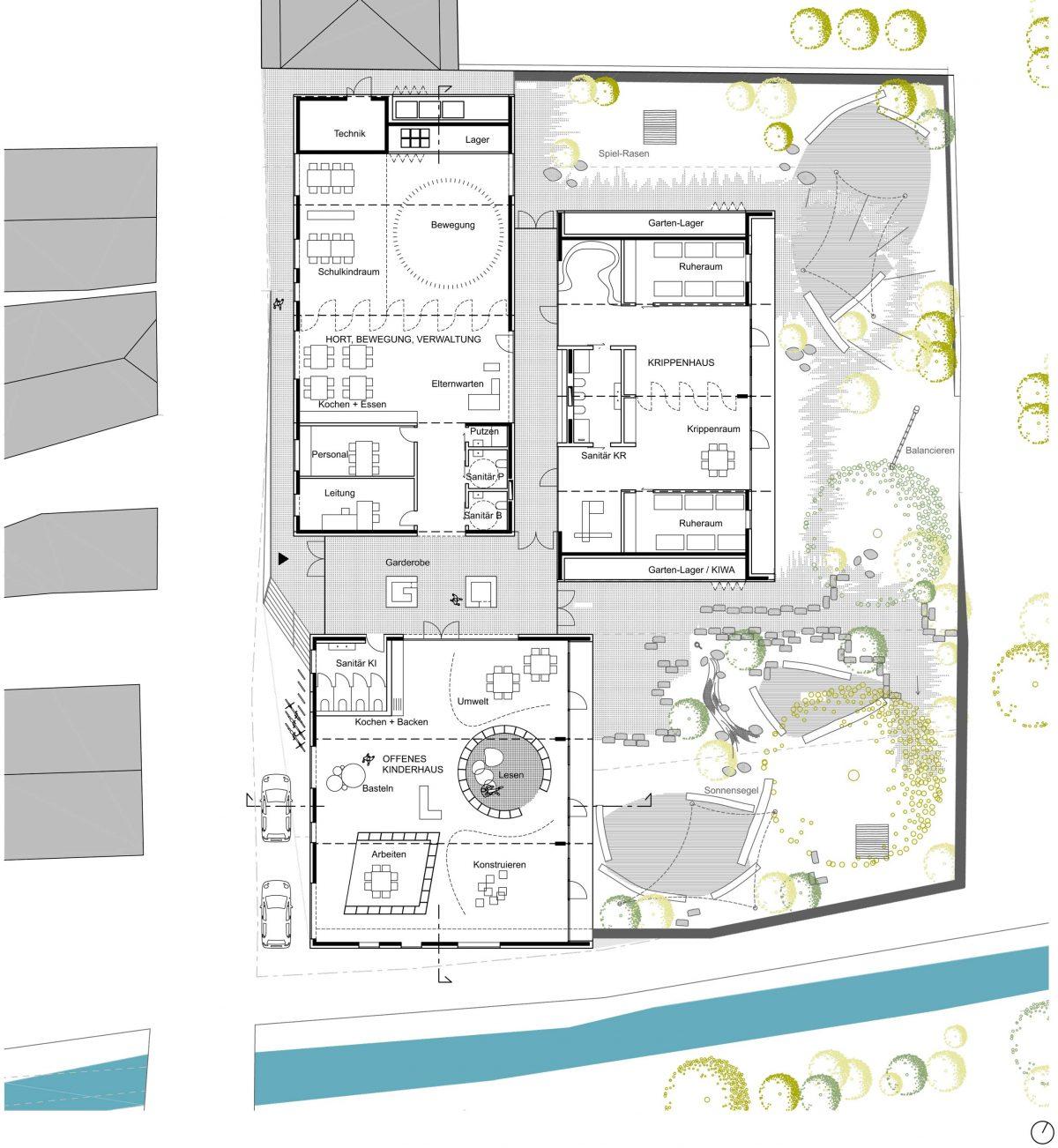 Grundriss vom Entwurf für den Kindergarten Retzbach vom Bermüller+Niemeyer Team.