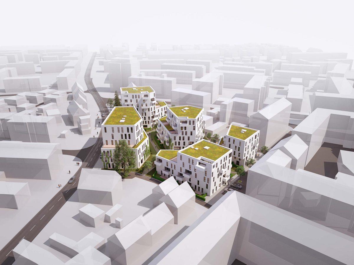 Der Carlina Park - die neuen Wohnungen an der Schopenhauerstraße in Nürnberg geplant von Bermüller+Niemeyer Architekturwerkstatt.