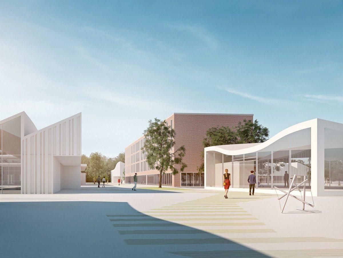 Aussenperspektive vom Campus Handwerk in Halle (Saale) vom Bermüller+Niemeyer Team.