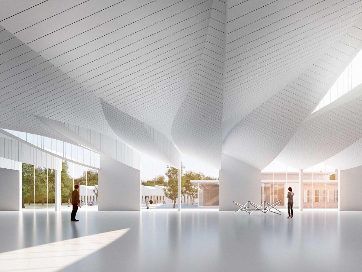 Innenansicht vom Entwurf für den Campus Handwerk in Halle (Saale) vom Bermüller+Niemeyer Team.
