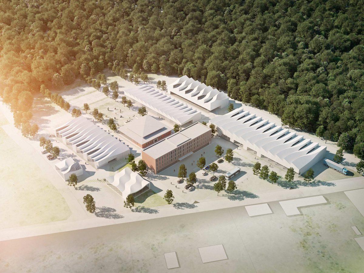 Perspektive für den Entwurf vom Campus Hanwerk in Halle (Saale) vom Bermüller+Niemeyer Team.