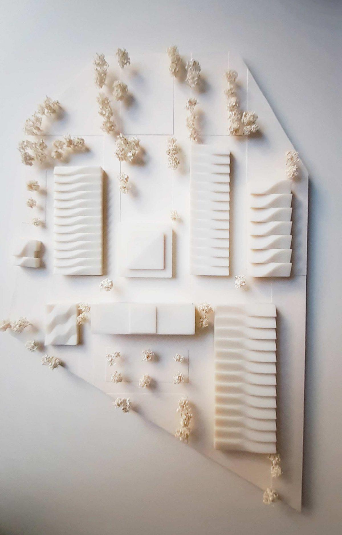 Konzeptmodell für den Entwurf vom Campus Hanwerk in Halle (Saale) vom Bermüller+Niemeyer Team.
