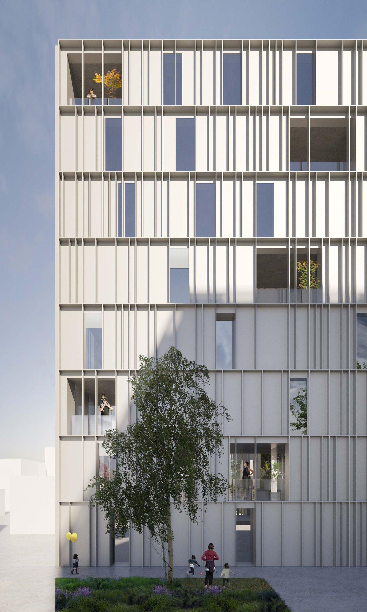 Fassadenentwurf für den Wettbewerb in der Gebbertstr. in Erlangen.