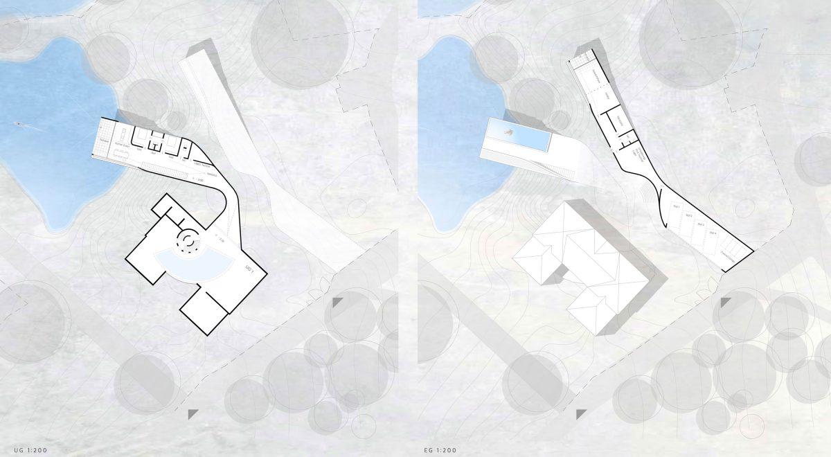 Der Grundriss des Untergeschosses und des Erdgeschosses des Entwurfs für den Wettbewerb Haus am See in Schwabach.