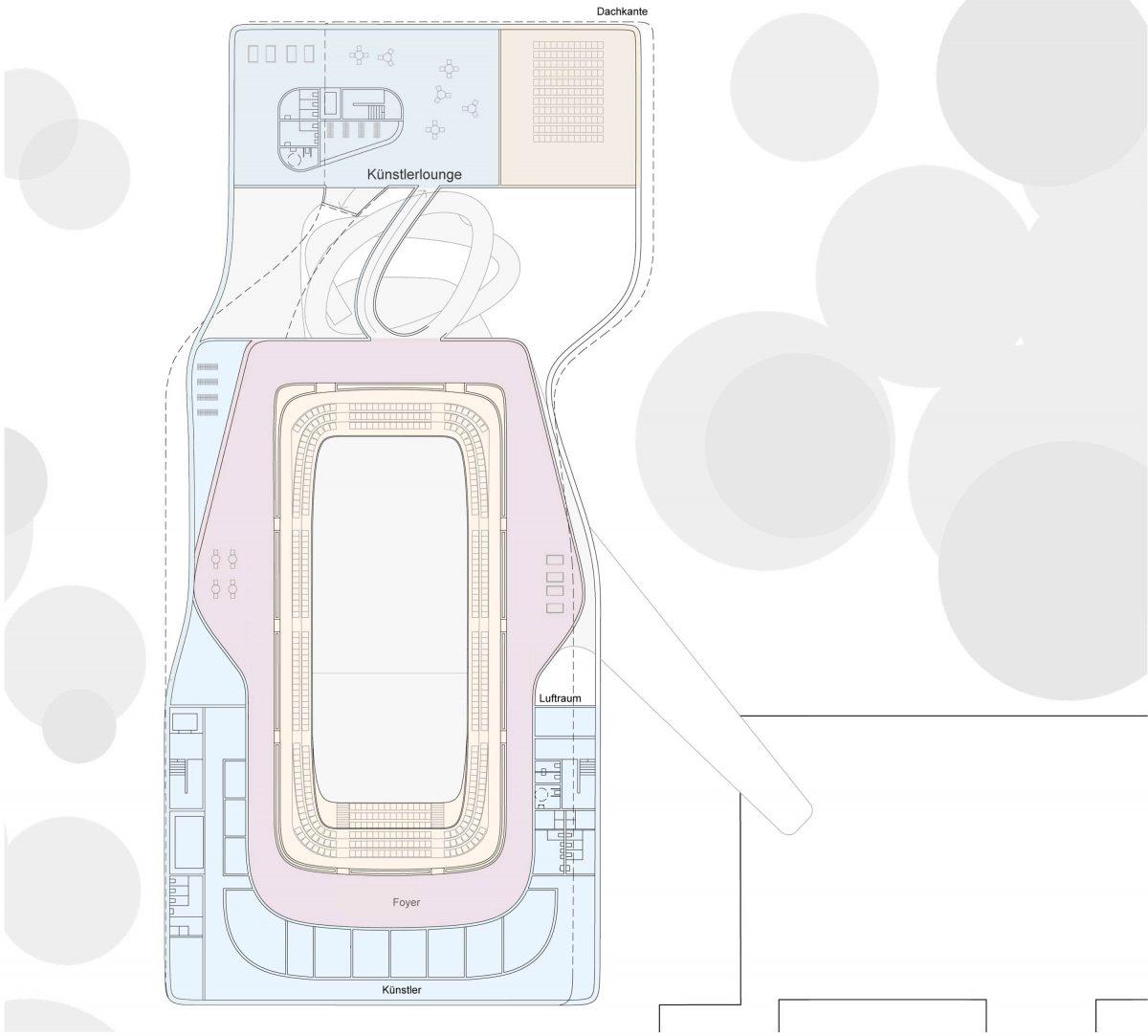 Grundrisse vom Entwurf für die neue Konzerthalle Nürnerg gestaltet von Bermüller+Niemeyer Architekturwerkstatt.