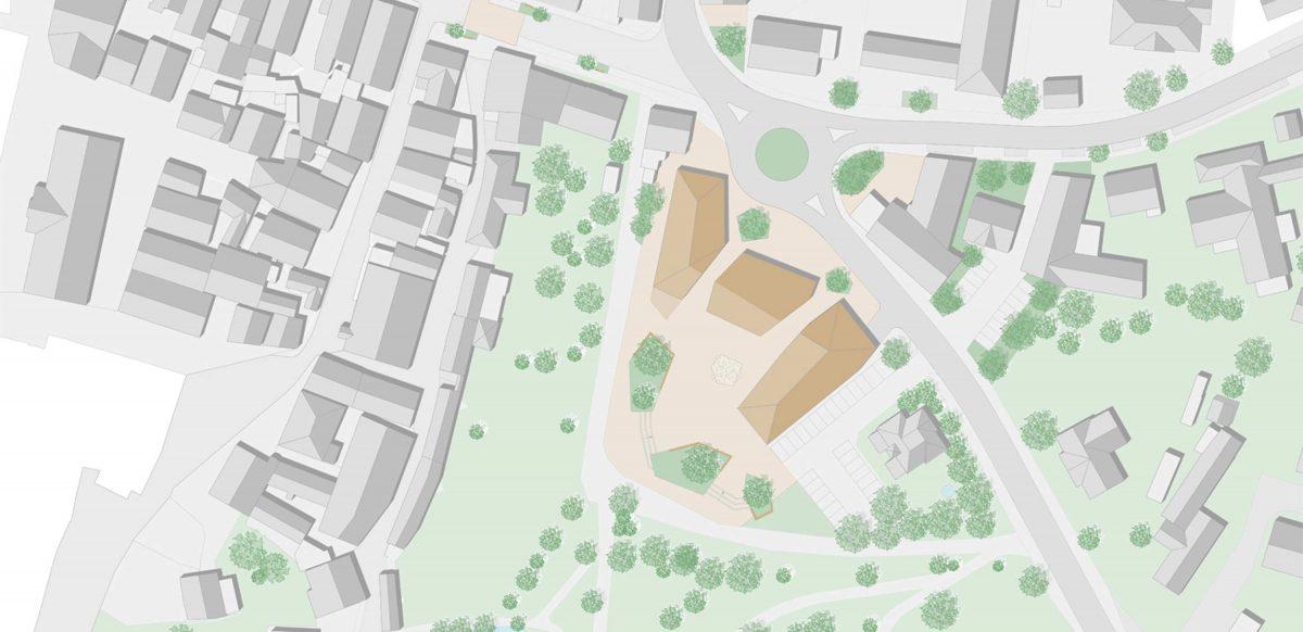 Entwurf für den Wettbewerb in Weissenburg Obertorgassen von Bermüller+Niemeyer Architekten.