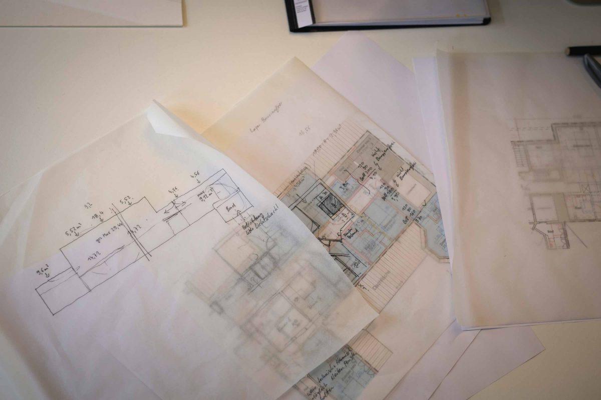 Entwurfsskizzen vom Team der Bermüller+Niemeyer Architekturwerkstatt.