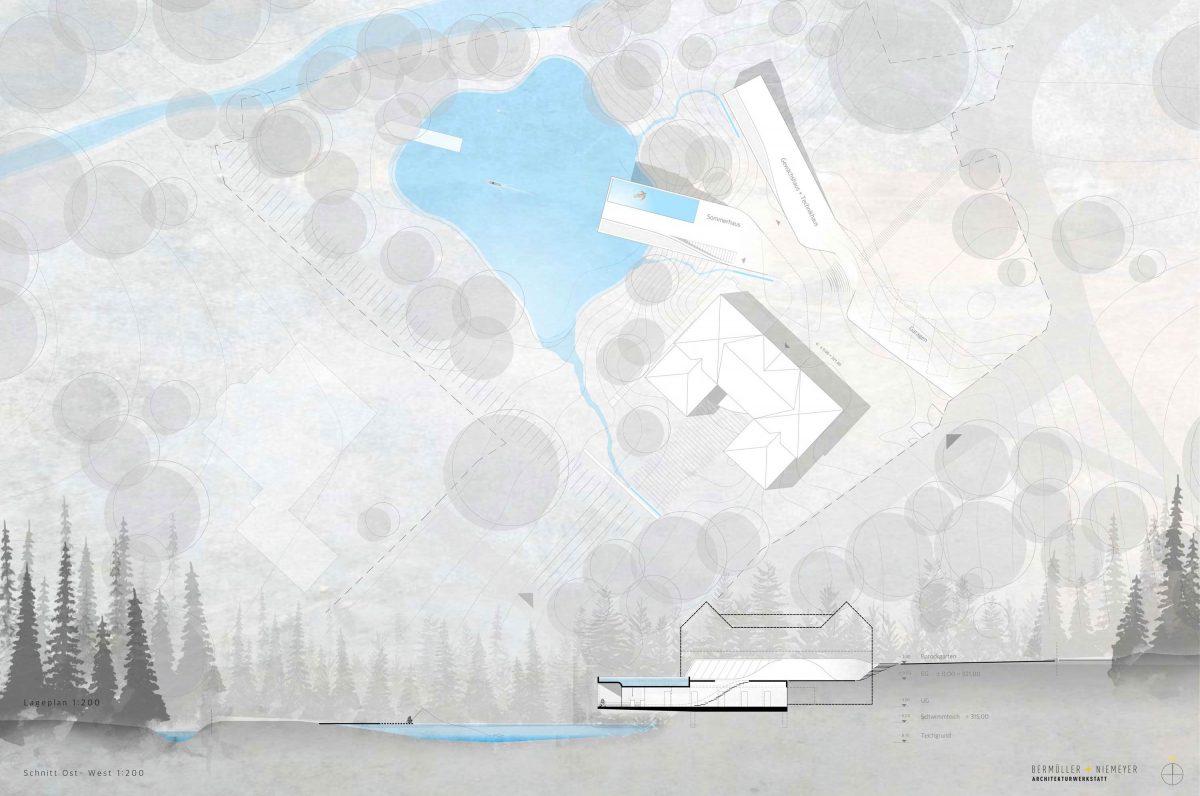 Der Lageplan und Geländeschnitt vom Entwurf für den Wettbewerb Haus am See in Schwabach.