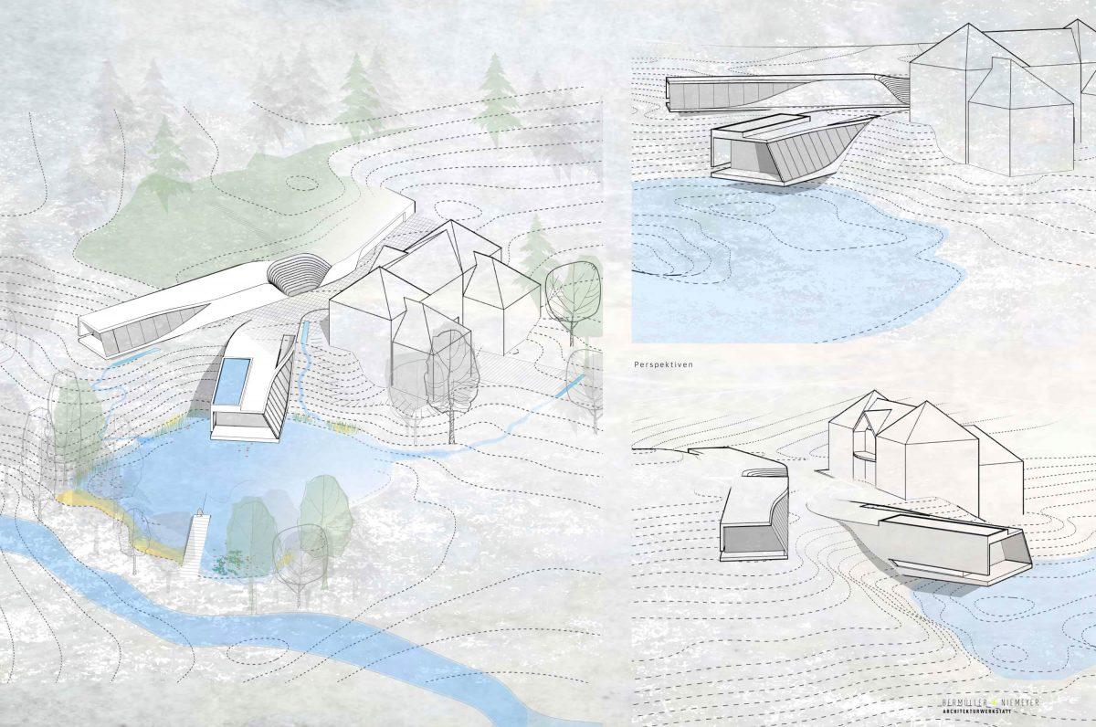Entwurf für den Wettbewerb Haus am See in Schwabach.