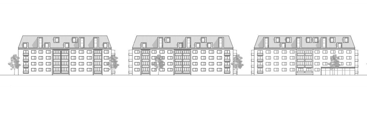 Der Entwurf von Bermüller+Niemeyer Architekten für die Erweiterung im Dachbereich der Mehrfamilienhäuser in der Frankenstrasse Nürnberg.