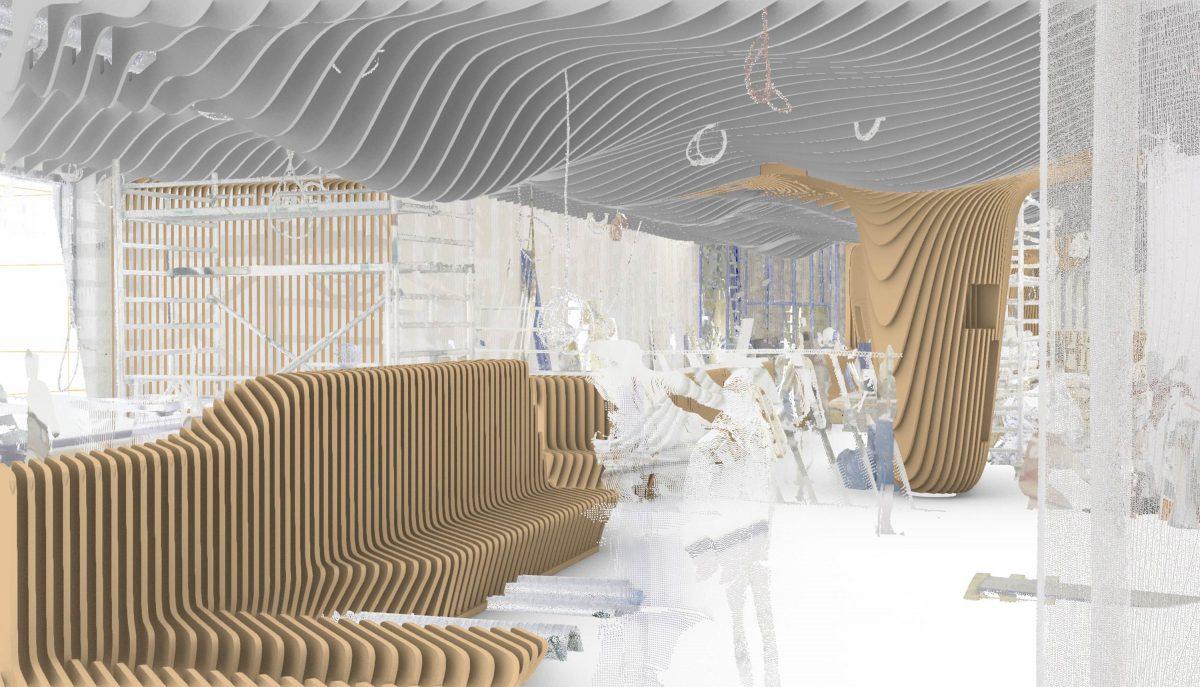 Das 3-D-Modell + Laserscanning vom Bermüller+Niemeyer Team vor Ort auf der Baustelle für die neue Sushi Bar in der Südstadt, Nürnberg.