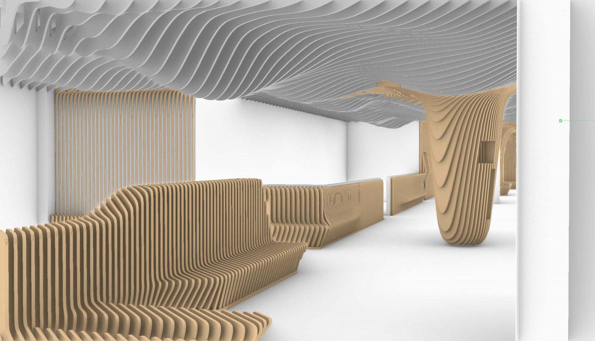 Das 3-D-Modell vom Bermüller+Niemeyer Team vor Ort auf der Baustelle für die neue Sushi Bar in der Südstadt, Nürnberg.