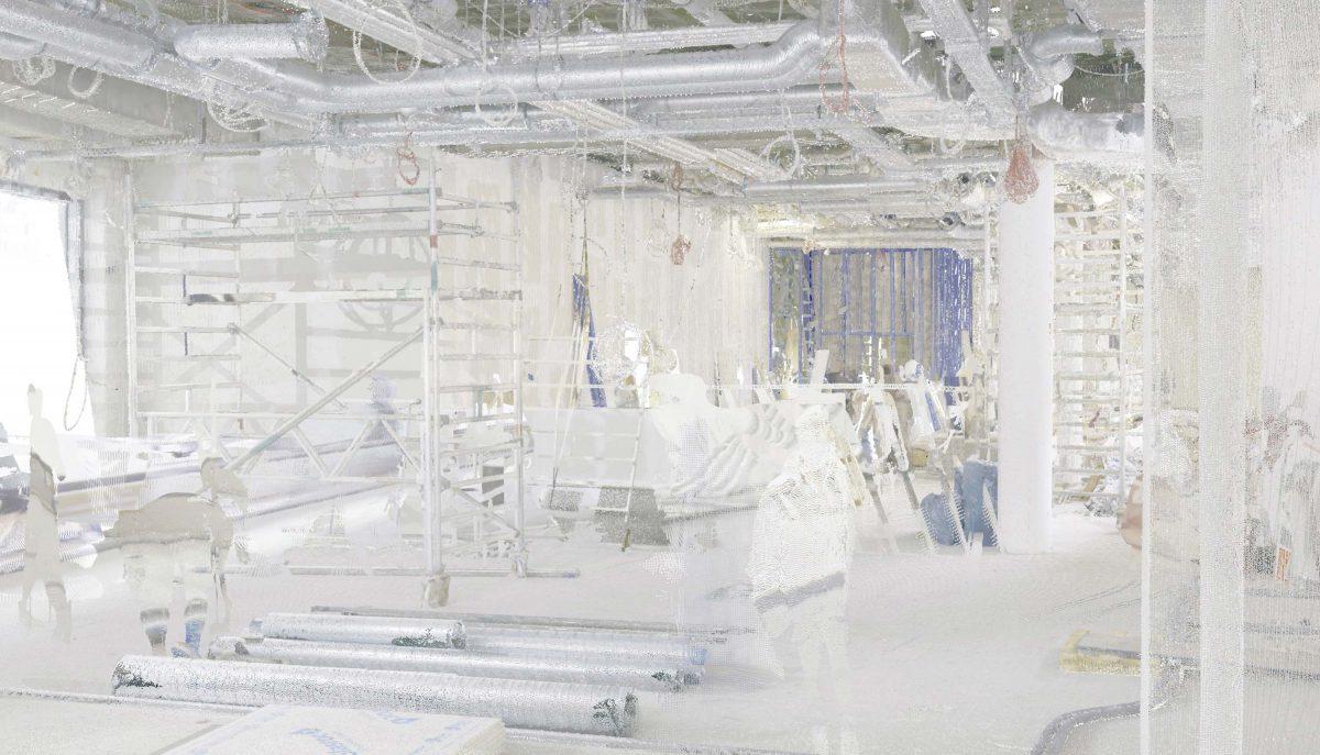 Das Laserscanning vom Bermüller+Niemeyer Team vor Ort auf der Baustelle für die neue Sushi Bar in der Südstadt, Nürnberg.