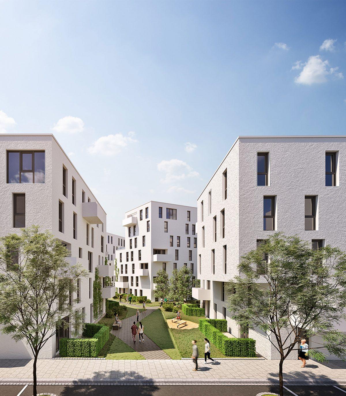 Die Perspektive aus der Nietzschestraße in das neue Wohnquartier
