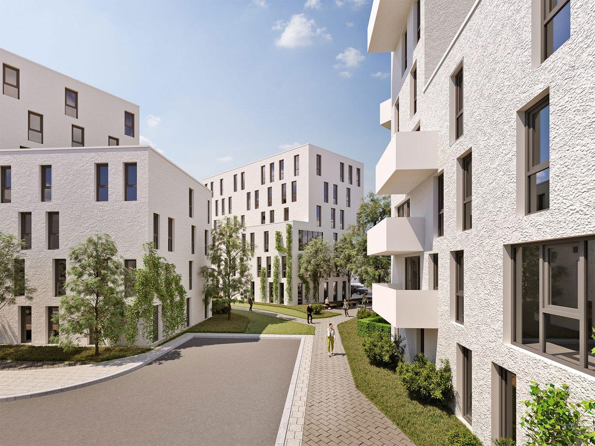 Perspektive aus der Distelstraße Nürnberg mit Blick auf das neue Wohnquartier