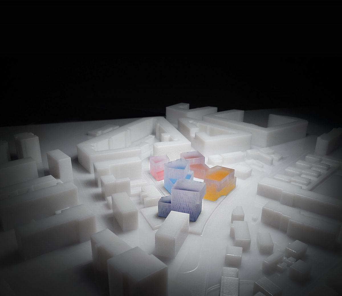 Das Wettbewerbsmodell gedruckt mit 3-D Laser-Sinterung für den Entwurf vom Wohnquartier