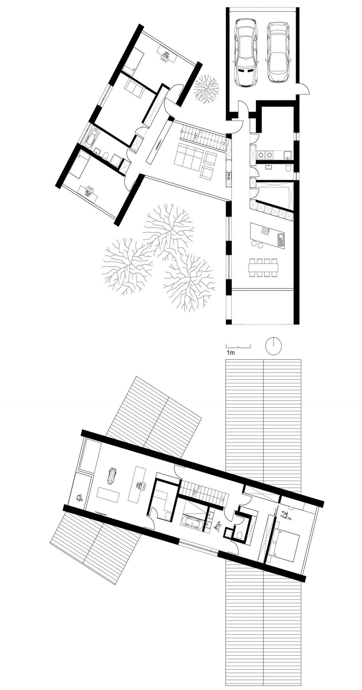 Die gestapelten Grundrisse des Erd- und Obergeschosses der riegelartigen Gebäudeteile vom Einfamilienhaus