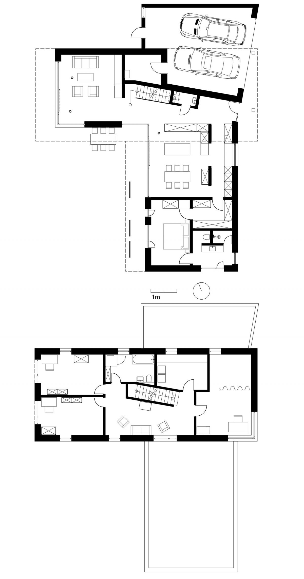 Die uebereinander gestapelten und verdrehten Grundrisse des Erd- und Obergeschosses des Einfamilienhauses
