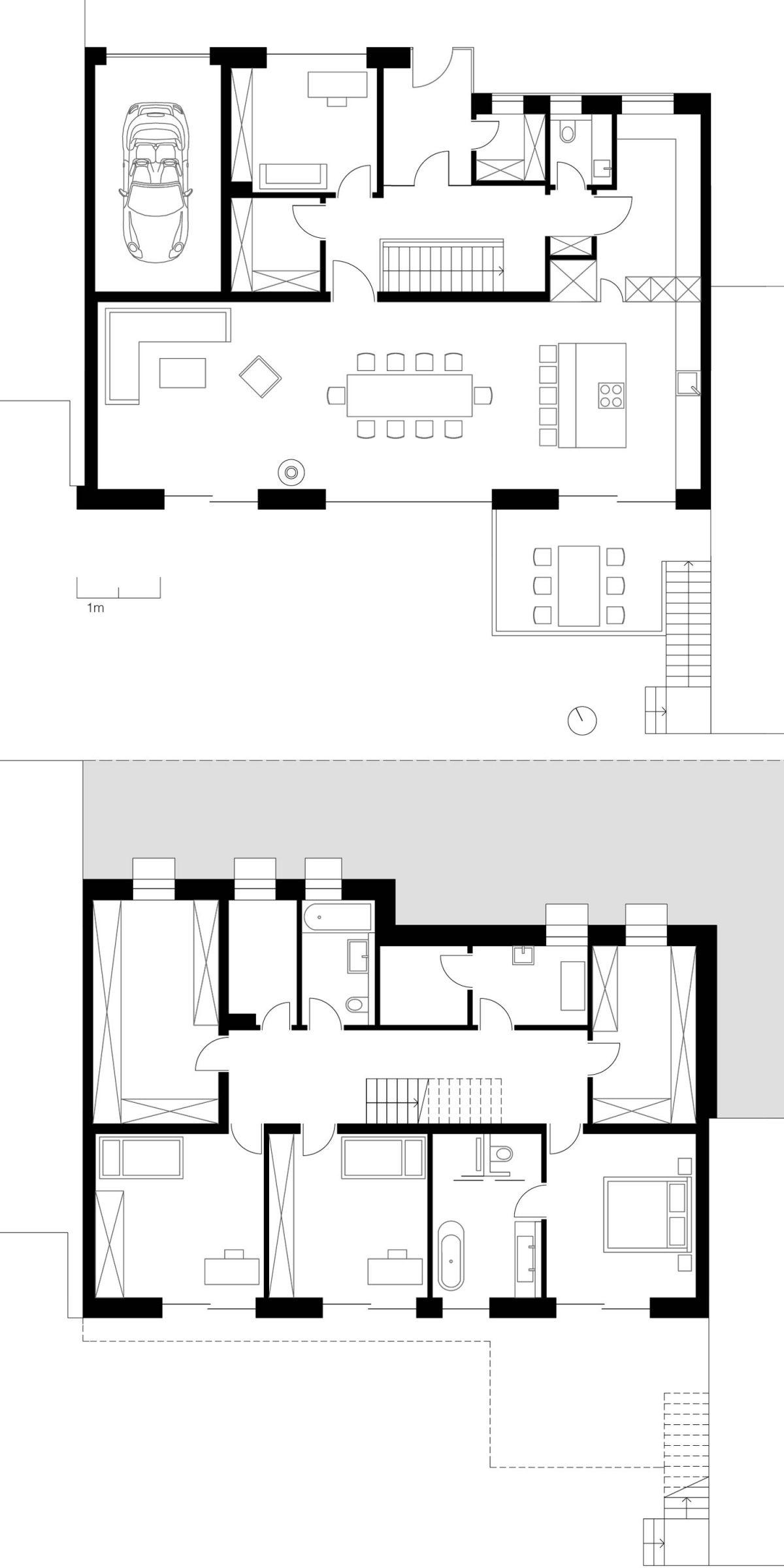 Der Grundriss des Erd- und Obergeschosses des Einfamilienhauses