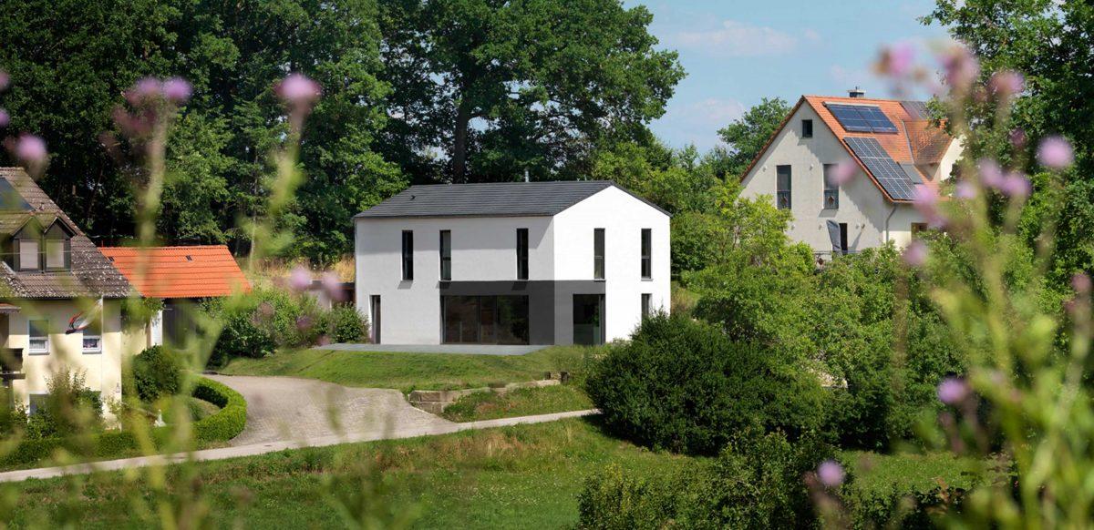 Blick auf das Einfamilienhaus