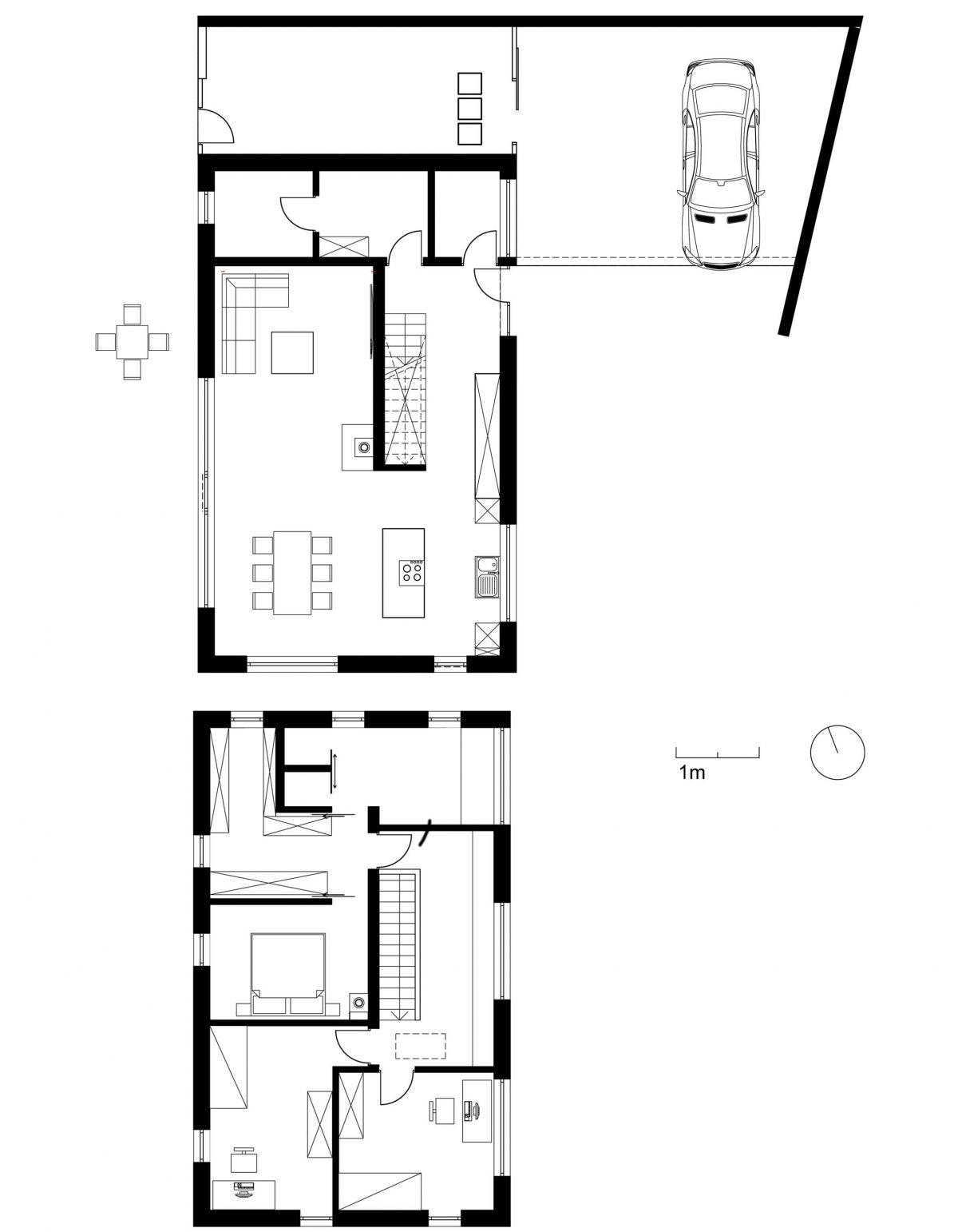 Der langgezogene Grundriss des Erd- und Obergeschosses vom Einfamilienhaus