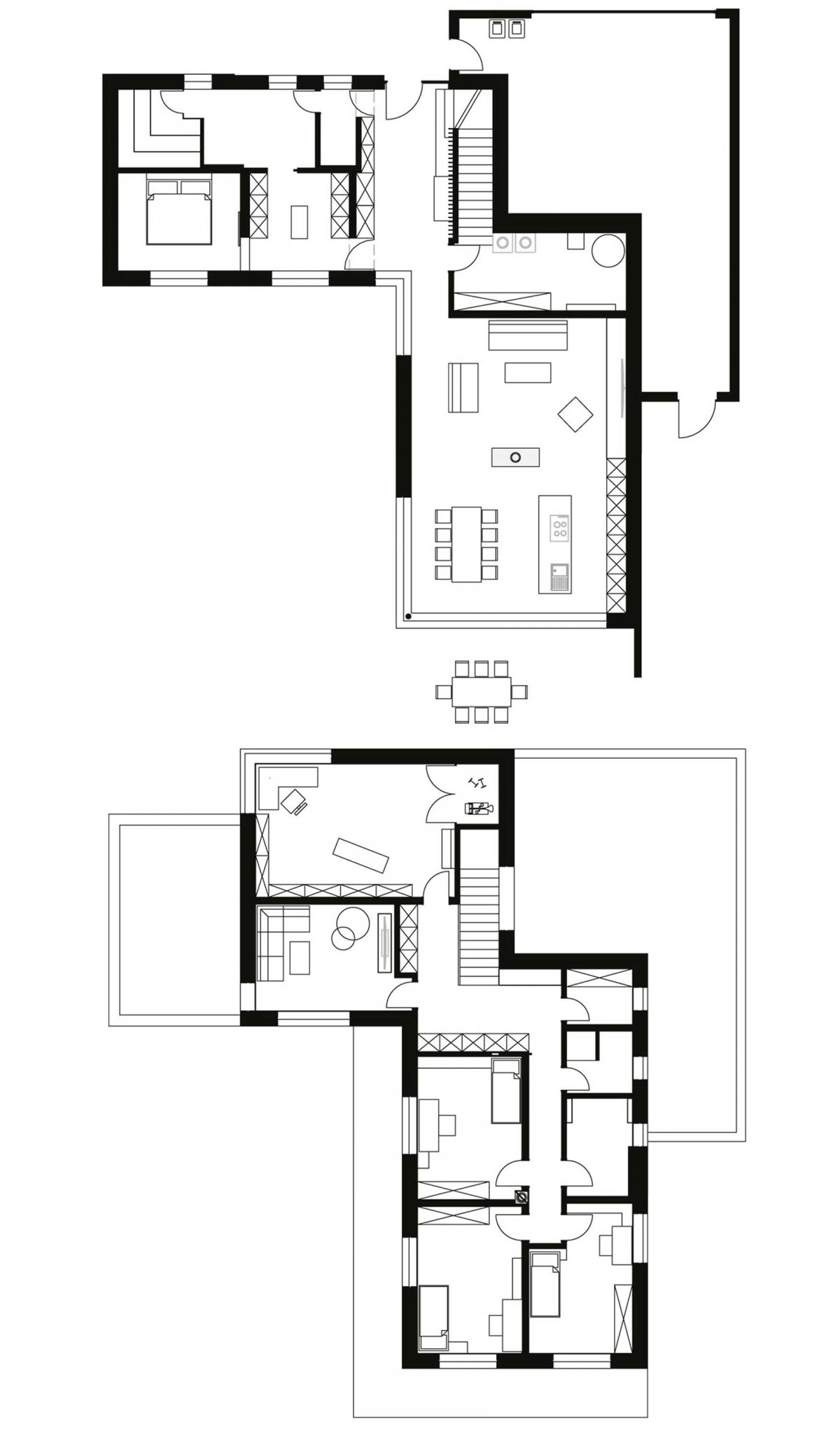 Der Grundriss des Erd- und Obergeschosses in L-Form vom Einfamilienhaus