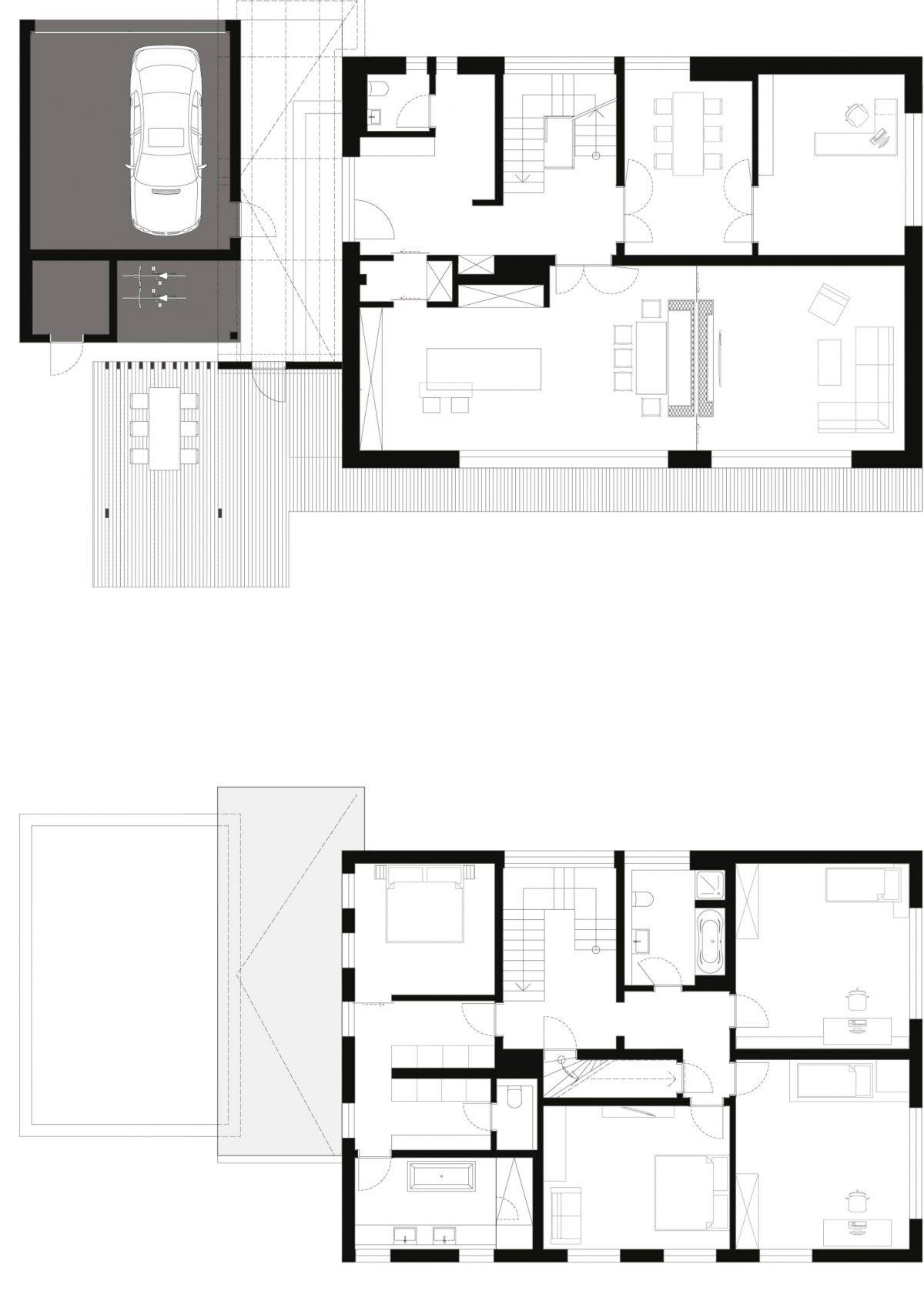 Der Grundriss von Erd- und Obergeschoss der 60er Jahre Villa