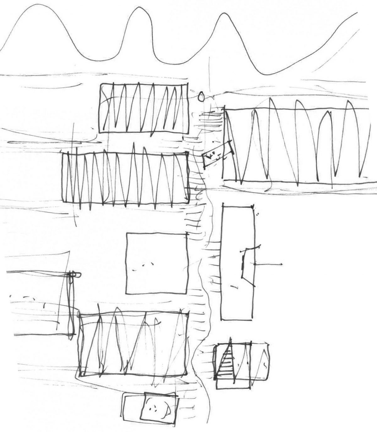 Händische Skizze vom Lageplan des Entwurfs für den Campus Handwerk in Halle.