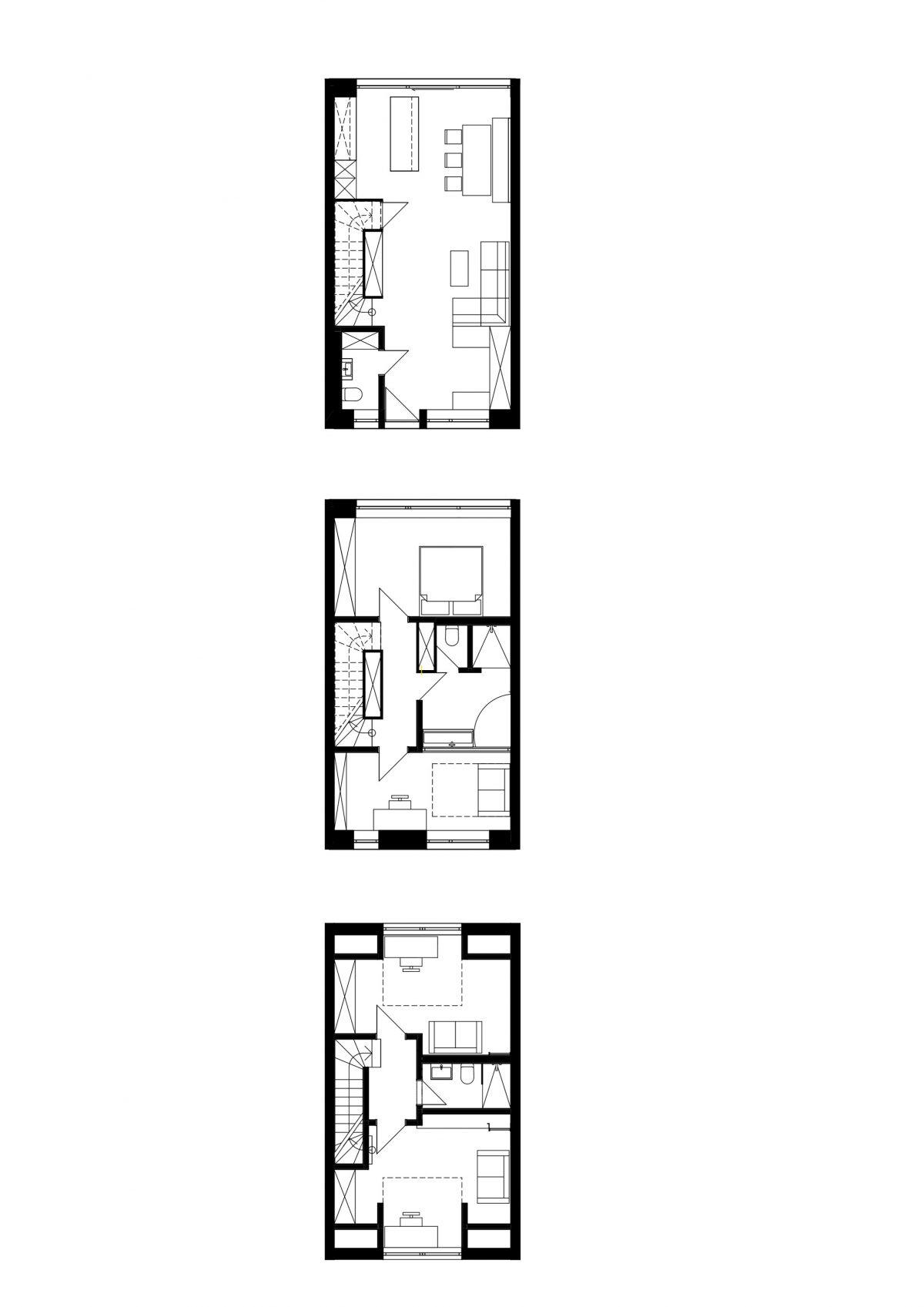 Der durchgesteckte Reihenhaus-Grundriss des Erd-, Ober- und Dachgeschosses des umgebauten Hauses