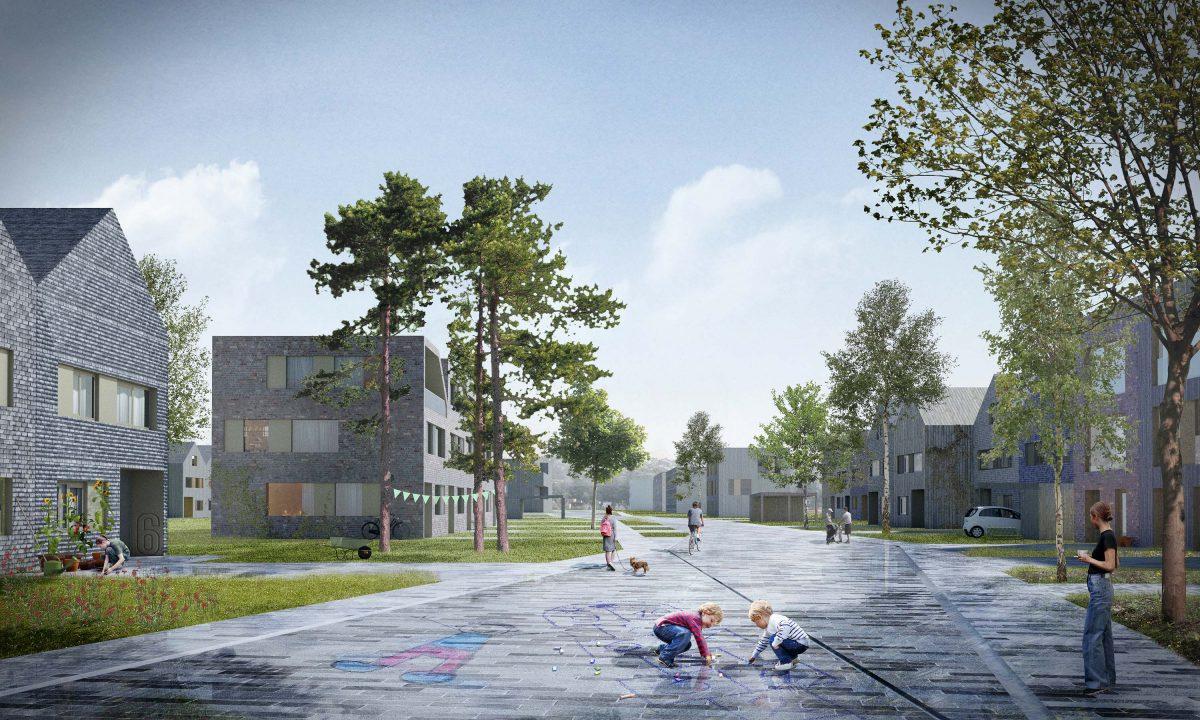 Der städtebauliche Entwurf der Bermüller+Niemeyer Architekturwerkstatt beim Wettbewerb BUC36 in Rangsdorf bei Berlin.